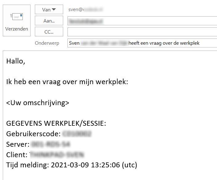 Ingevuld mailtje met supportgegevens
