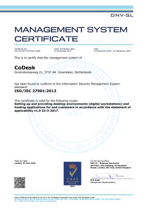 CoDesk ISO 27001 DNV GL gecertificeerd