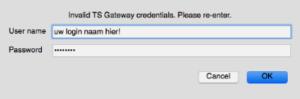 Verkeerde / oude credentials bij Gateway