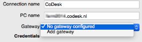 Gateway selecteren / nieuwe Gateway