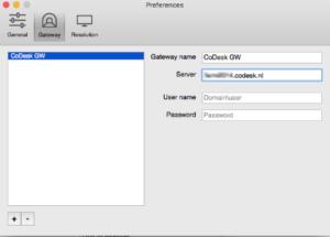 Gateway naam en server invoeren